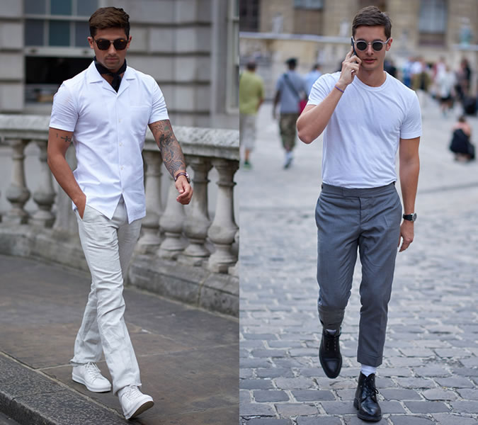 b66a698a488 ... мужских образов лето 2018 Мужчины в белых футболках  уличная мода 2018