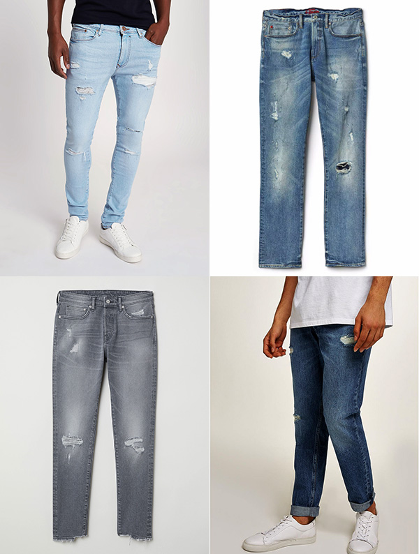 Как носить рваные и потертые мужские джинсы летом